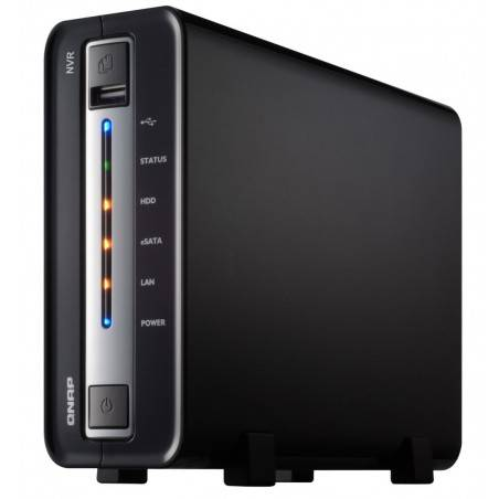 QNAP NVR-104 NVR for IP Cameras, 1-BAY 1TB SATA I/II, 4 Ch. 1 X 10/100/1000Mbps, 2 x USB2.0, 1 x eSATA