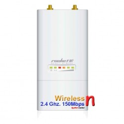 Ubiquiti Wireless AccessPoint (กระจายสัญญาณ Wireless) Ubiquiti Rocket M2 Access Point Outdoor 2.4GHz 150Mbps พร้อม POE ในชุด