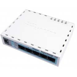 Mikrotik RouterBoard 750G CPU 400MHz Switch 5 port 10/100/1000 Case แบบ พลาสติก พร้อม Power Supply