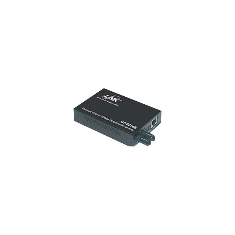 Link Link UT-0214E Media Converter แปลงสัญญาณจาก RJ-45 เป็นสาย Fiber Optic แบบ MultiMode หัวต่อแบบ ST ระยะทาง 2 กิโลเมตร