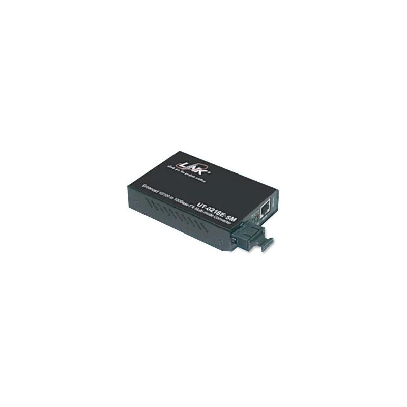 Link Link UT-0216E-SM30 Media Converter แปลงสัญญาณจาก RJ-45 เป็นสาย Fiber Optic แบบ SingleMode หัวต่อแบบ SC ระยะทาง 30 กิโลเมตร