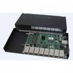 MikroTIK Mikrotik RouterBoard RB493AH-Set ขนาด 9 Port 10/100Mbps Ram 128MB, 3 miniPCI, 1 Serial Port, ROS LV5 พร้อม Case