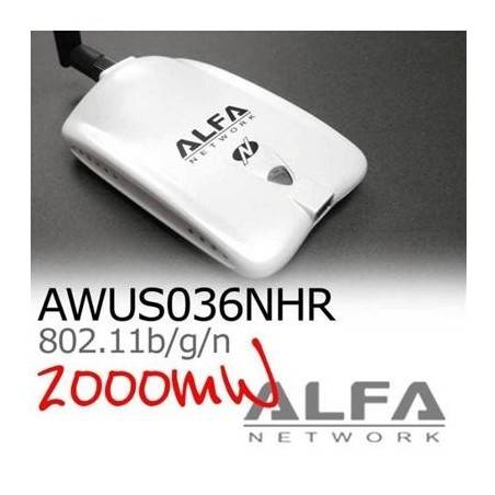 ALFA AWUS036NHR ตัวรับสัญญาณ Wireless ระยะไกล แบบ USB กำลังส่งแรงสุดถึง 2000mW ความเร็ว 150Mbps