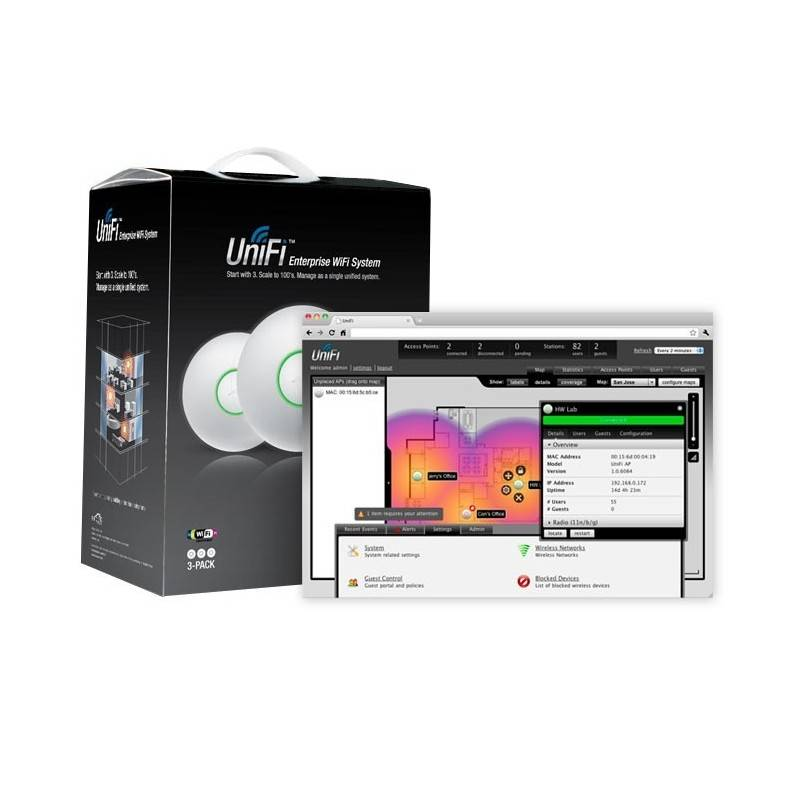 Ubiquiti UniFi UAP-Pro Pack 3 ชุดราคาประหยัด Access Point Dual Band 2.4GHz/5GHz 450Mbps Wireless AccessPoint (กระจายสัญญาณ WIFI)
