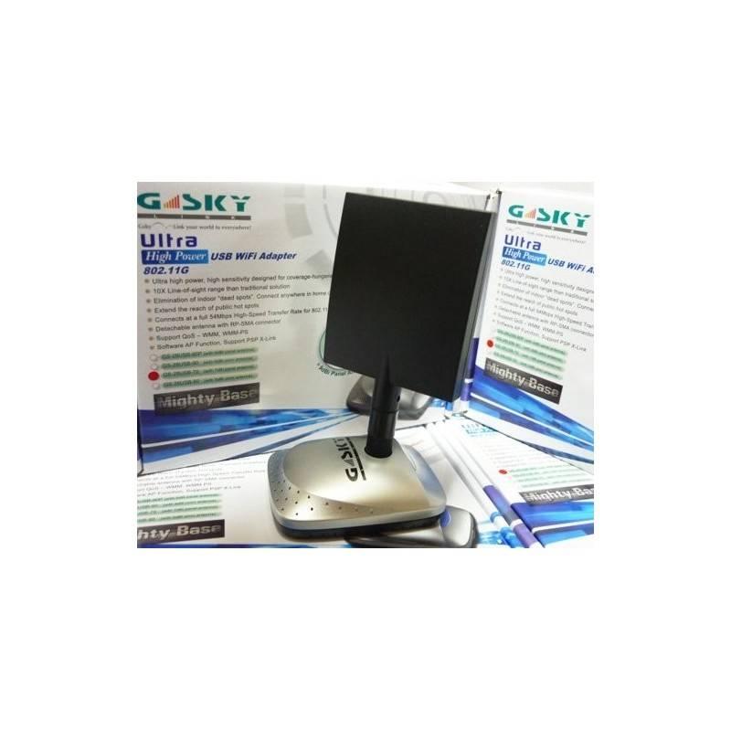 Gsky GS-28USB-70 ตัวรับสัญญาณ WIFI แบบ USB Hi-Power 1000mW พร้อมเสา Panel 7dBi แถมฟรีเสา Omni Wireless USB แบบกำลังส่งสูง