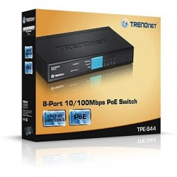 Switches, Hub เชื่อมเครือข่ายแบบสาย TrendNet TPE-S44 Switch 8 Port 10/100 Mbps รองรับ POE มาตรฐาน 802.3af จำนวน 4 Port