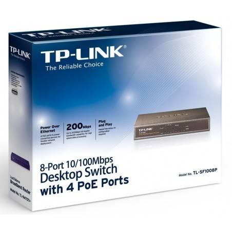 TP-Link TL-SF1008P POE Switch 8 Port 10/100 Mbps รองรับ POE มาตรฐาน 802.3af จำนวน 4 Port