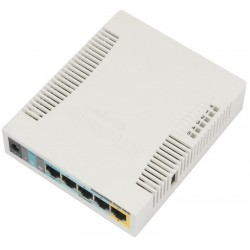 Mikrotik RouterBoard RB951Ui-2HnD CPU 600MHz OS Lv.4  5 Port POE Wireless 802.11n 2.4GHz กำลังส่ง 1W