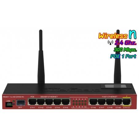 Mikrotik Router RB2011UiAS-2HnD-IN พร้อม Wireless 2.4GHz 300Mbps 10Port Lan รองรับจ่ายไฟผ่าน POE