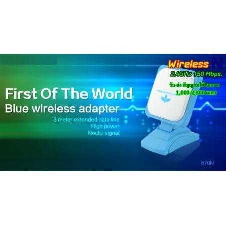 WIFI-HIGH-POWER-670N ตัวรับสัญญาณ USB แบบ High Power พร้อมเสาทิศทาง Panel 12dBi สายยาว 3 เมตร
