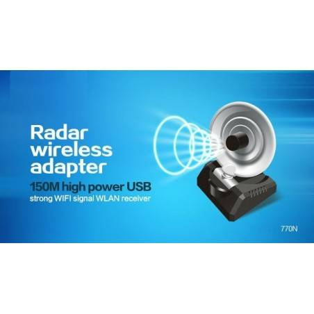 WIFI-HIGH-POWER-770N ตัวรับสัญญาณ USB แบบ High Power พร้อมเสาทิศทาง Radar 10dBi สายยาว 1.5 เมตร