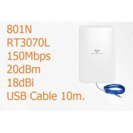 WIFI-HIGH-POWER-802N ตัวรับสัญญาณ USB แบบ High Power พร้อมเสาทิศทาง Panel 18dBi สายยาว 10 เมตร