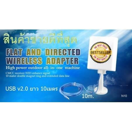 WIFI-HIGH-POWER-N10 ตัวรับสัญญาณ USB แบบ High Power พร้อมเสาทิศทาง Panel 16dBi สายยาว 10 เมตร