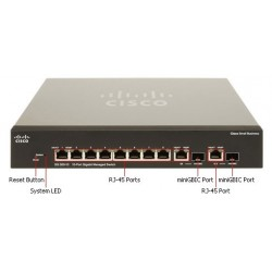 Cisco Cisco SG300-10 (SRW2008) L3-Managed Switch 8 Port Gigabit, 2-Port SFP/mini-Gbic รองรับ Static Routing