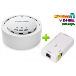 EnGenius EAP350 Kit Access Point ความถี่ 2.4GHz ความเร็ว 300Mbps Port Gigabit พร้อม POE 4818 ในชุด Wireless AccessPoint (กระจ...