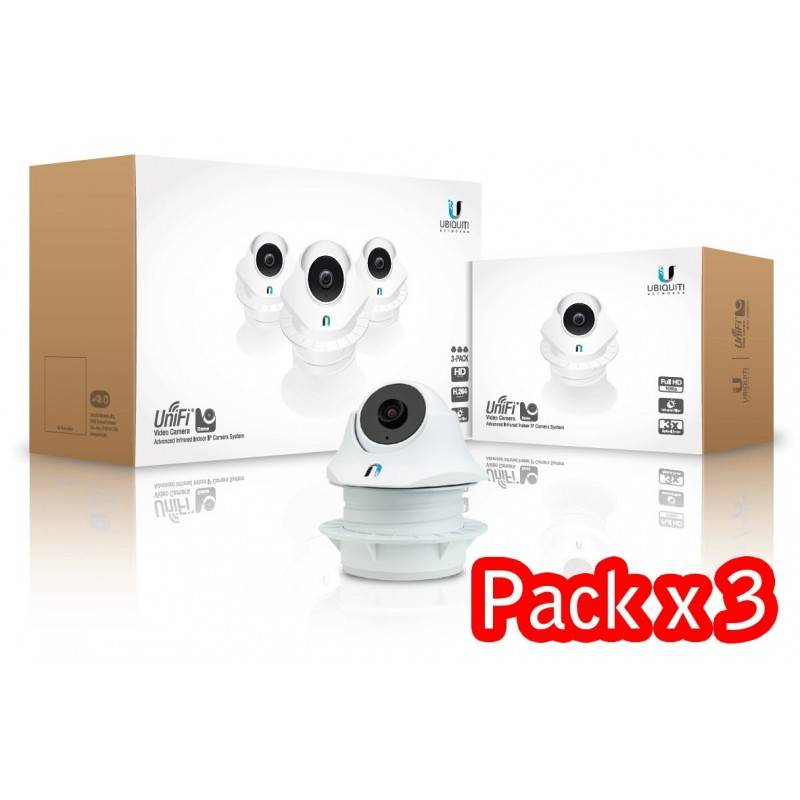 Ubiquiti Unifi Video Camera Dome  Pack 3 (UVC-Dome-3) กล้อง IP Camera มาตรฐาน H.264 720p HD, IR LED Night Mode, POE ในชุด
