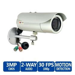ACTi Bullet D42A 3MP IR Day/Night IP Bullet Camera, 2-Way Audio Support, 2.8-12mm Varifocal Lens
