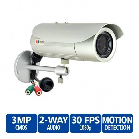 ACTi Bullet D42A 3MP IR Day/Night IP Bullet Camera, 2-Way Audio Support, 2.8-12mm Varifocal Lens