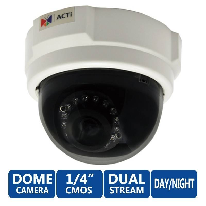 ACTi Dome E52 1MP Indoor Day/Night Adaptive IR Camera, Fixed Lens