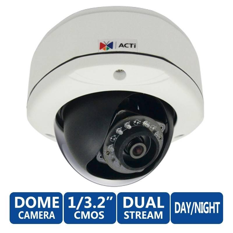 ACTi Dome E72 Outdoor ความละเอียด 3MP 1080p/30fps Day/Night Basic WDR, MicroSD, รองรับ PoE ACTi (แอคตี้)