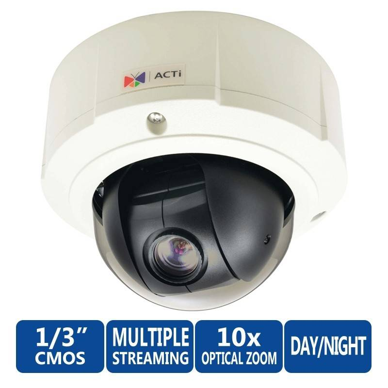 ACTi ACTi Mini PTZ B94 1.3Mp Outdoor Day/Night Basic WDR Dome PoE Camera with 10x Zoom Lens