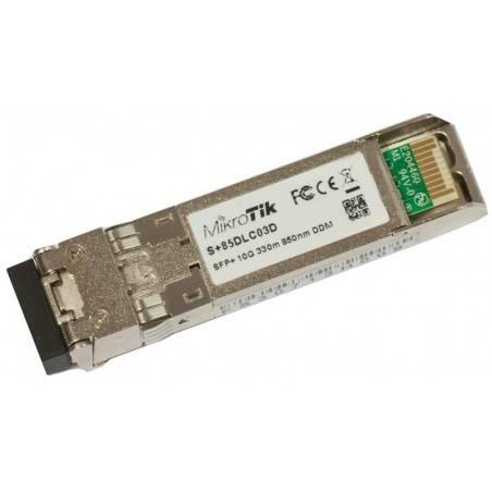 Mikrotik S+85DLC03D SFP+ transceiver เชื่อมต่อกับ Fiber Optic แบบ Multimode หัวต่อแบบ LC ระยะทาง 300 เมตร