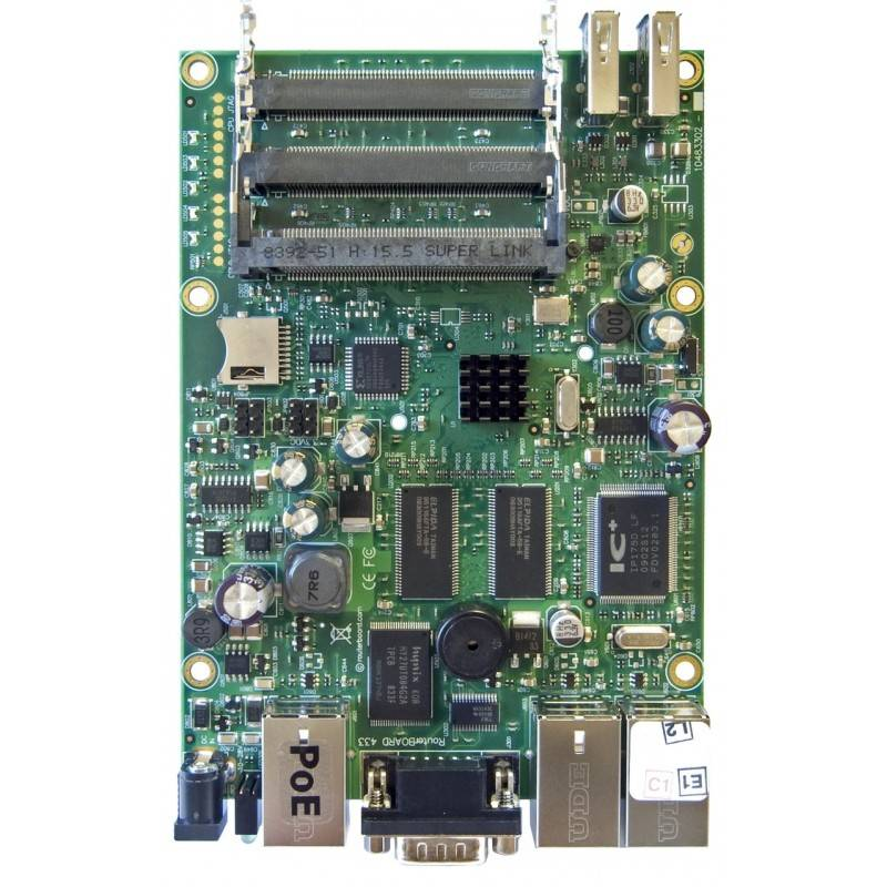 Mikrotik RouterBoard RB433UAH RouterOS LV 5, CPU 680MHz Ram 128MB, 1Serial Port, 3MiniPCI slots, 2 USB