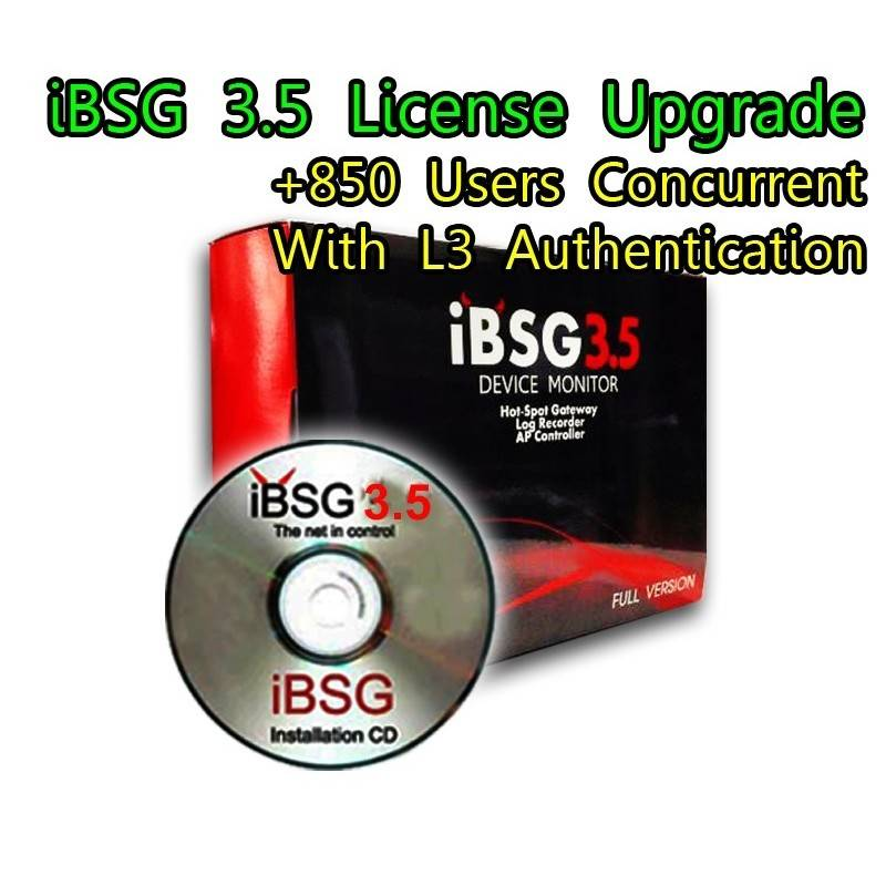 iBSG 3.5 License Upgrade-850 Ent เพิ่ม Users อีก 850 Users Concurrent สำหรับ iBSG Software และ The Box