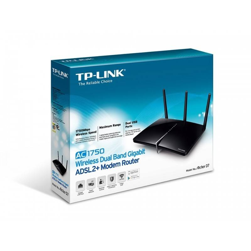 TP-Link Archer D7 AC1750 ADSL Modem Wireless Router แบบ Dual-band 2.4/5GHz มาตรฐาน AC ความเร็วสูงสุด 1300Mbps Port Gigabit