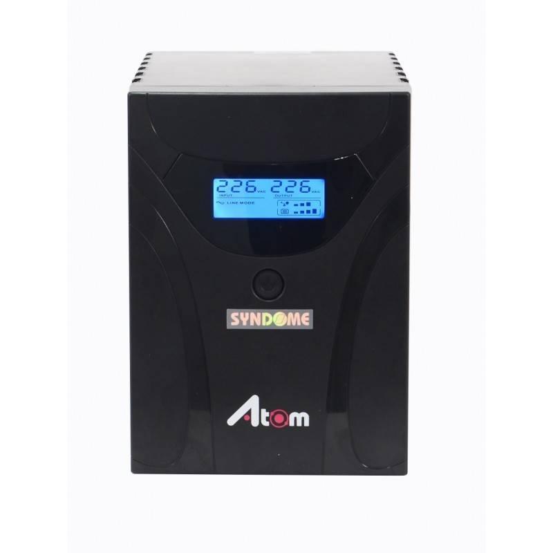 เครื่องสำรองไฟ UPS Syndome ATOM1000-LCD แบบมี LCD Display ขนาด 1000VA 600Watt UPS เครื่องสำรองไฟ