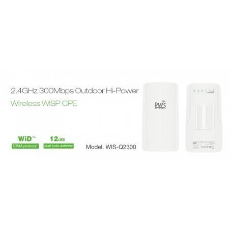 WisNetworks WIS-Q2300 Wireless CPE ภายนอกอาคาร มาตรฐาน 802.11g/n 2.4GHz ความเร็ว 300Mbps เสา 12dBi พร้อม POE