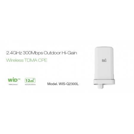 WisNetworks WIS-Q2300L Wireless CPE ภายนอกอาคาร มาตรฐาน 802.11g/n 2.4GHz ความเร็ว 300Mbps เสา 12dBi พร้อม POE