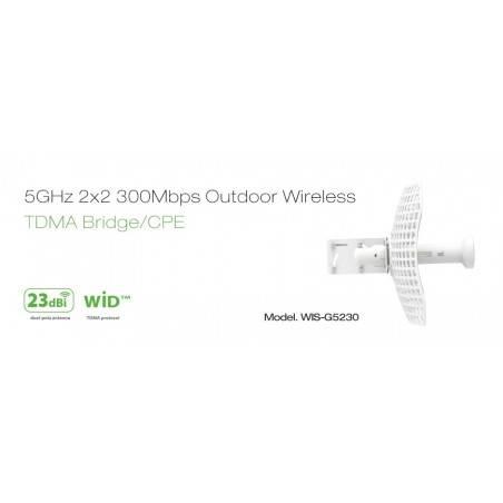 WisNetworks WIS-G5230 Wireless Bridge เชื่อมต่อเครือข่ายระยะไกล ความถี่ 5GHz 300Mbps เสา 23dBi พร้อม POE