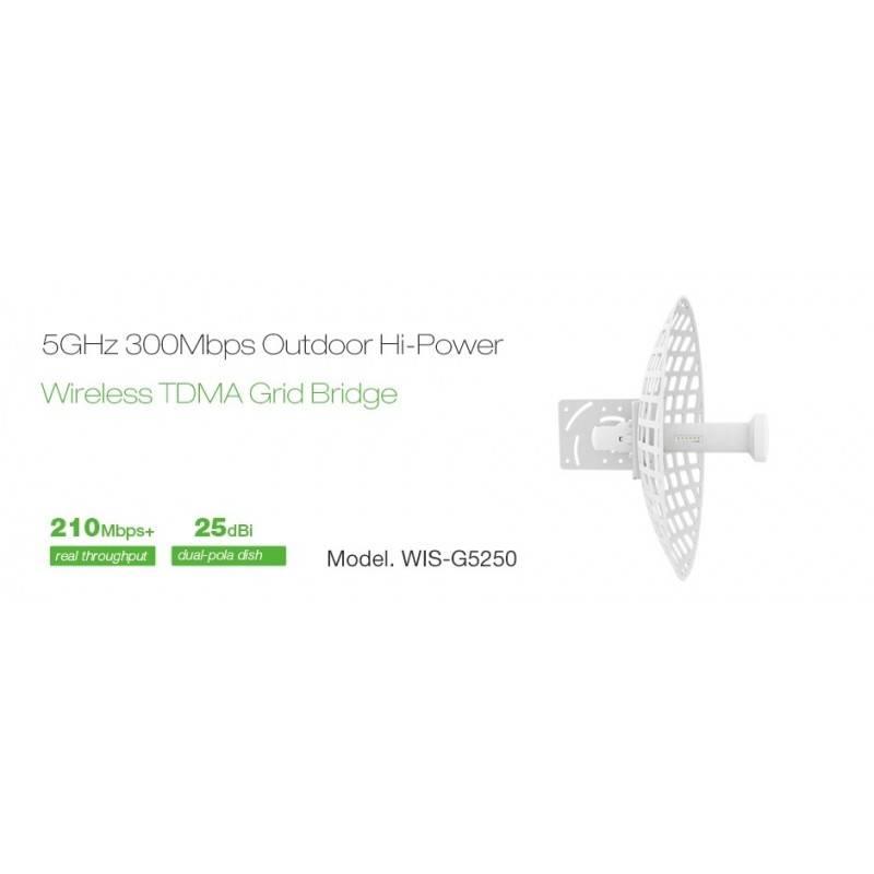 WisNetworks WIS-G5250 Wireless Bridge เชื่อมต่อเครือข่ายระยะไกล ความถี่ 5GHz 300Mbps เสา 25dBi พร้อม POE