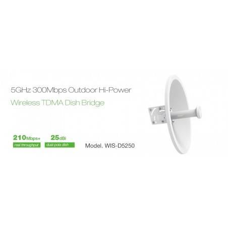 WisNetworks WIS-D5250 Wireless Bridge เชื่อมต่อเครือข่ายระยะไกล ความถี่ 5GHz 300Mbps เสา 25dBi พร้อม POE