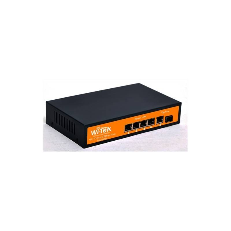 Wi-Tek WI-PS105F POE Switch 5 Port 10/100Mbps, 4 Port POE 802.3af, 1 Combo SFP Port Max 75W Switches เชื่อมเครือข่ายแบบสาย