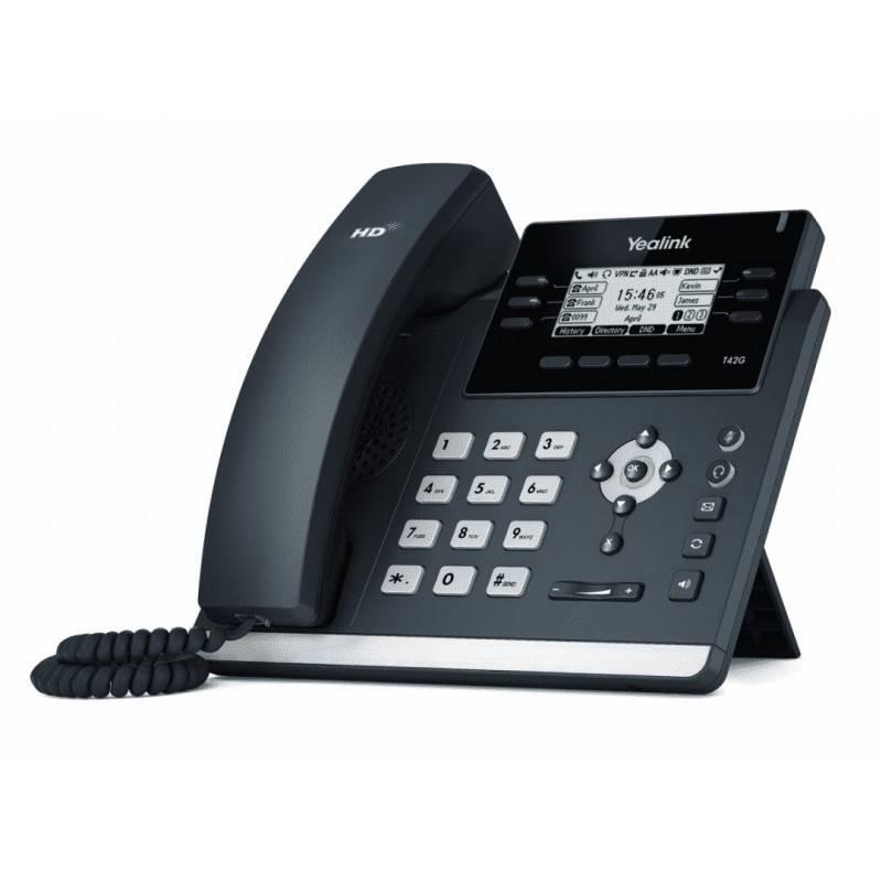 Yealink SIP-T42G โทรศัพท์แบบ IP (IP-Phone) จอ LCD รองรับ 12 SIP Account, HD Voice 2 Port รองรับ POE IP-Phone เครื่องโทรศัพท์แ...