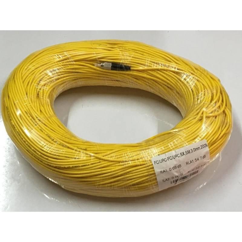 SysNet Center Fiber-Optic Cable หัว FC/UPC-FC/UPC สำเร็จจากโรงงาน แบบ Indoor, Simplex, Single Mode 3.0MM. 200 เมตร