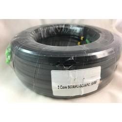 Fiber-Optic Cable FTTH Drop wire 2 Core หัว SC/APC สำเร็จจากโรงงาน แบบ Outdoor มีสลิง, Single Mode 100 เมตร