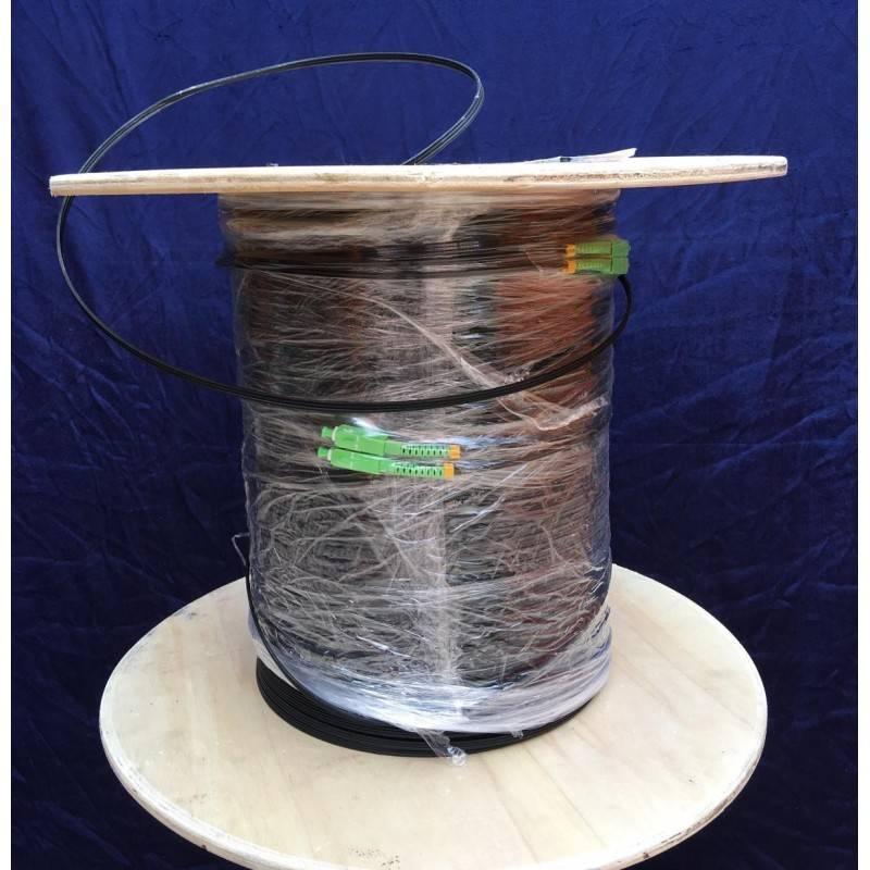 SysNet Center Fiber-Optic Cable FTTH Drop wire 2 Core หัว SC/APC สำเร็จจากโรงงาน แบบ Outdoor มีสลิง, Single Mode 350 เมตร