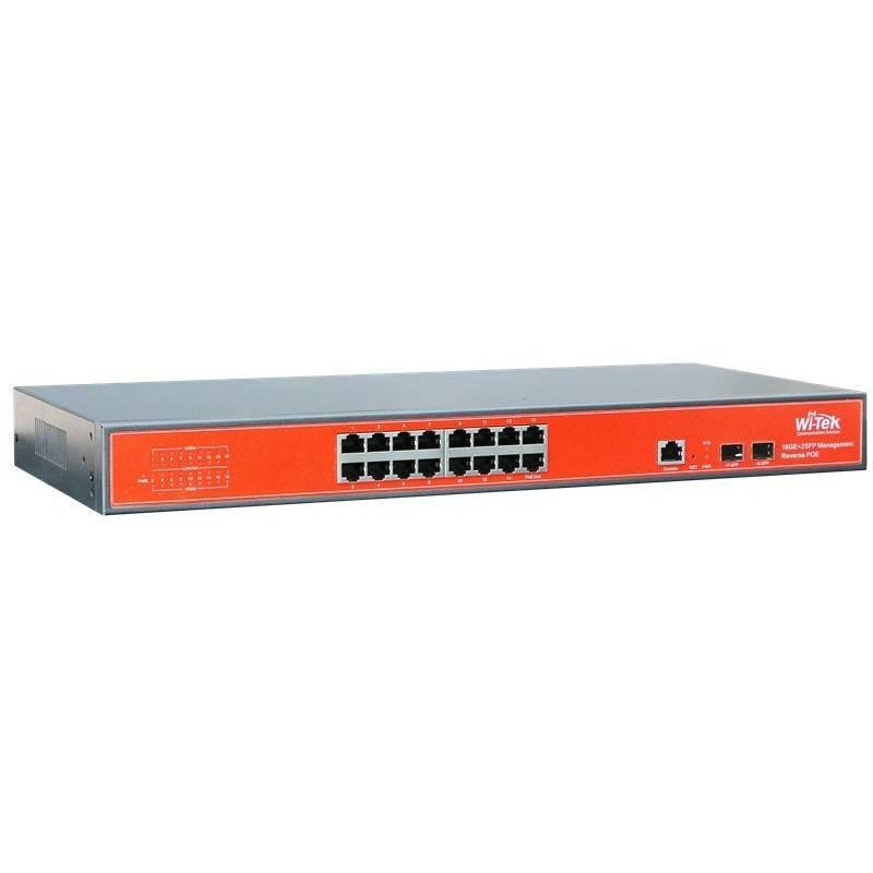 Wi-Tek WI-PMS318GF L2-Managed POE Switch 16 Port Gigabit 2 Port SFP มาตรฐาน 802.3af/at กำลังไฟสูงสุด 350W Switches เชื่อมเครื...