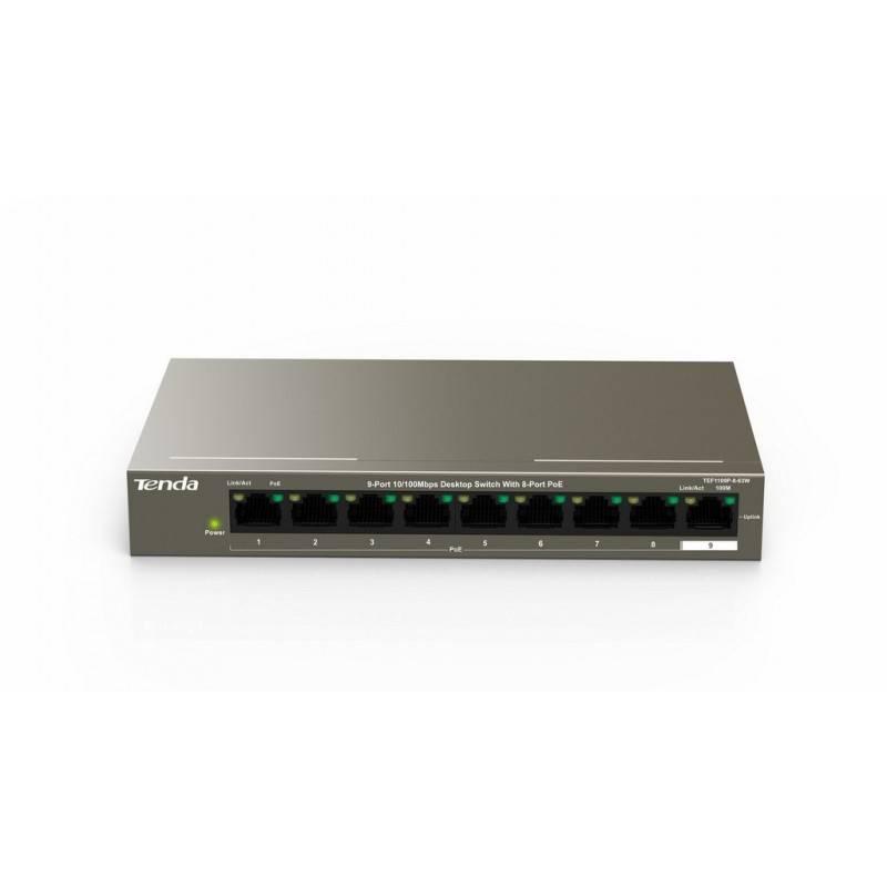 TENDA TEF1109P-8-63W POE Switch 9 Port 100Mbps จ่ายไฟ POE 802.3af 8 Port รวม 63W, VLAN Switches เชื่อมเครือข่ายแบบสาย