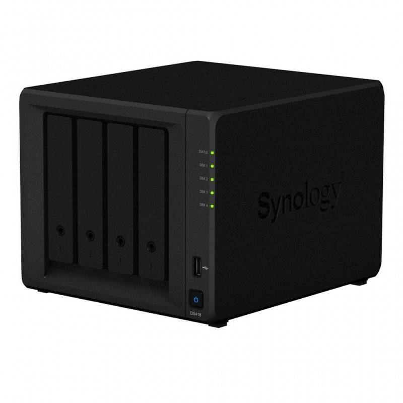 Synology DS418 NAS server 4Bay สูงสุด 48TB รองรับ Backup, Media Streaming, 4K Video, Load Bit อุปกรณ์จัดเก็บข้อมูล (NAS)
