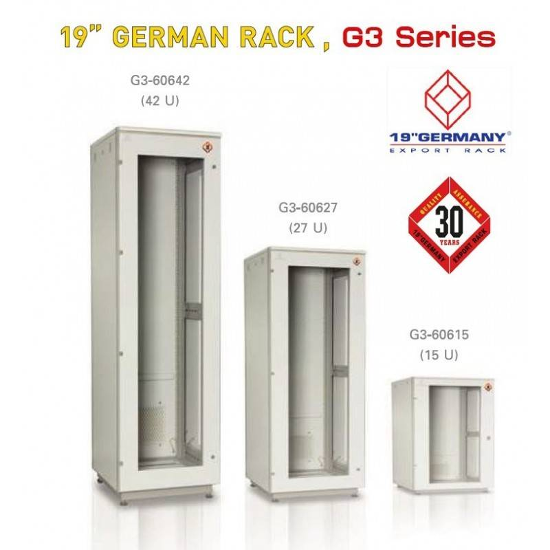 "19"" GERMAN RACK G3 Series G3-60915 Rack ขนาด 15U WxDxH 60x90x85 cm ตู้ Rack และ อุปกรณ์เสริม"