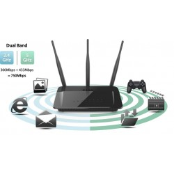 D-LINK DIR-809 Wireless Router Dual-Band AC750 Port Lan 100Mbps รองรับ Mode Repeater  Broadband Router
