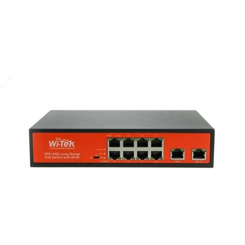 Wi-Tek WI-PS210G POE Switch 8 Port 100Mbps, 2 Port Gigabit POE 802.3af/at 8 Port Max 150W Switches เชื่อมเครือข่ายแบบสาย