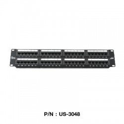 Link US-3048 Patch Panel 48 Port มาตรฐาน CAT 5E ขนาด 2U Rack Mount Support Connector หัวต่อ LAN