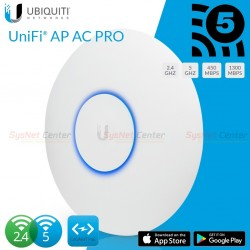 Ubiquiti UniFi UAP-AC-PRO Wireless Access Point AC Dual Band 1750Mbps พร้อม Gigabit POE Wireless AccessPoint (กระจายสัญญาณ WIFI)