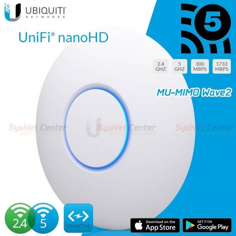 Ubiquiti UniFi UAP-nanoHD Access Point มาตรฐาน ac 4x4 MU-MIMO Wave 2 ความเร็วสูงสุด 1733Mbps Wireless AccessPoint (กระจายสัญญ...