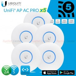 Ubiquiti UniFi UAP-AC-PRO Pack 5 ชุด มาตรฐาน ac Dual Band 2 ย่านความถี่ 2.4/5GHz ความเร็วสูงสุด 1300Mbps Wireless AccessPoint...